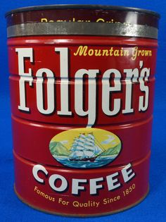 Mid Century 1959 Folgers Coffee Tin Can Large 3lb Size Keywind Style with Lid To see the Price and Detailed Description you can find this item in our Category Vintage Tin Cans on eBay: http://stores.ebay.com/tincanalley1/Vintage-Tin-Cans-/_i.html?_fsub=14920359018  This can is copyright 1959. The 3lb size is much harder to find than the 1 & 2 pound tins. This is in excellent condition with the lid.  If you're a tin collector, it's worth the drive to Castle Rock to come check out our…
