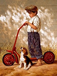 Love his work. The late Norman Rockwell. Norman Rockwell painting Norman Rockwell - I love his artwork! Go Home - Jim Daly. Art And Illustration, Illustrations, Norman Rockwell Art, Norman Rockwell Paintings, Dog Art, Vintage Cards, Beautiful Paintings, American Artists, Vintage Children