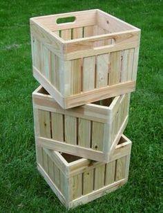 Make your own milk crates then stencil carve or engrave. - - Make your own milk crates t Milk Crates, Wood Crates, Wood Boxes, Wood Pallets, Pallet Boxes, Diy Wood Projects, Furniture Projects, Diy Furniture, Furniture Plans