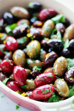 Citrus Roasted Olives -- These sound delicious. Antipasto, Roasted Olives, Marinated Olives, My Favorite Food, Favorite Recipes, Appetizer Recipes, Appetizers, Good Food, Yummy Food