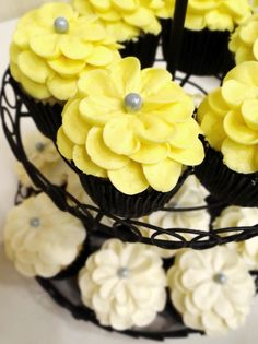 Grey and Yellow Wedding Cakes | ... Cupcakes Etc Gray Yellow Wedding Cake cake picture to pinterest