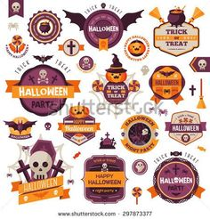 Set Of Vintage Happy Halloween Badges and Labels. Halloween Scrapbook Set. Ribbons, Flat Icons and Other Elements. Vector illustration. Cute Halloween Characters.