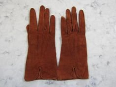 "Vintage 1950's UNUSED Rust Brown Suede Leather Wrist Length Gloves---9.5"" long---Size 7 to 7 1/2 --Glove Auction #1331 by PrimaMona on Etsy"