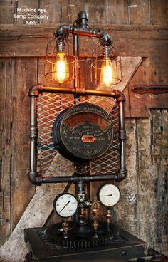 Steampunk Industrial Lamp, Weston Meter Steam Gauge #389