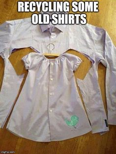 DIY project: Recycle an old dress shirt into an adorable baby girl/toddler dress.