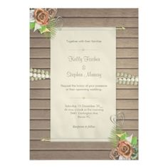 #wood - #Rustic wood and floral wedding invitation