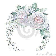 Hand drawn watercolor floral wreath isolated on white background. White roses and leaves. Great for creating vintage designs or wedding and greeting cards