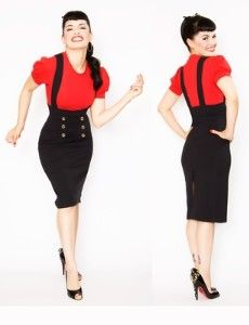Red poof shirt with black sailor button suspender skirt
