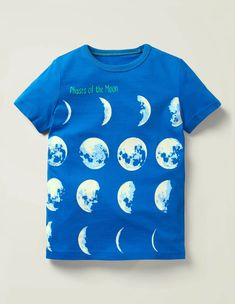 Discover our exciting range of boys' tops and T-shirts at Boden. Take your pick from comfy polos and classic Bretons to bold T-shirts in unique prints. Boden Uk, Mini Boden, Moon Design, Moon Phases, Khaki Green, Pure Products, T Shirts For Women, Prints, Mens Tops