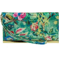 Mundi Cassie Peacock Wristlet ($21) ❤ liked on Polyvore featuring bags, handbags, clutches, green clutches, green handbags, green patent leather handbag, green purse and patent purse