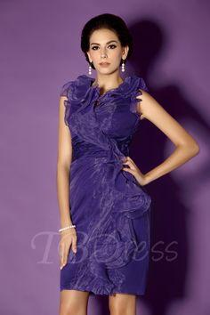 TBDress - TBDress Cascading Ruffles Sheath/Column Knee-Length V-Neck Talines Mother of the Bride Dress - AdoreWe.com