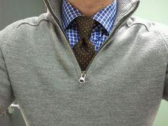Men's Shirt-Tie Combos | Blue & White Plaid Shirt, Brown Polka Dot Necktie, 1/2 Zip Gray Sweater | Men's Fashion & Style | Menswear | Men's Apparel | Business Casual | Moda Masculina | Shop at designerclothingfans.com
