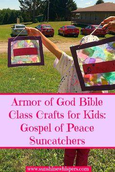 Armor of God Bible Class Crafts for Kids: Gospel of Peace Suncatchers - Sunshine Whispers  http://www.sunshinewhispers.com/2015/08/armor-of-god-bible-class-crafts-for-kids-gospel-of-peace-suncatchers/