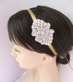 Bridal Rhinestone Headband - Antique Gold, Satin, Bridal Headband, Bridesmaid Headband. $23.95, via Etsy.