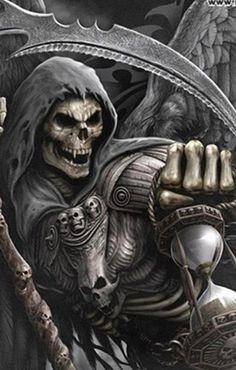 Death wears a mask Grim Reaper Art, Grim Reaper Tattoo, Don't Fear The Reaper, Dark Fantasy Art, Dark Art, Totenkopf Tattoos, Skull Pictures, Skull Artwork, Skull Wallpaper