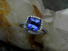 AAAA 7.1 x 7.1mm 1.83 Natural Cushion cut Tanzanite 14K white gold Halo engagement ring with .30 carats of diamonds H88 1800 on Etsy, $1,225.00