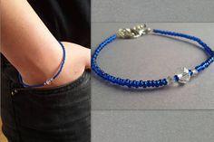 Blue Bracelet Crystal Bracelet Seed Bead Bracelet