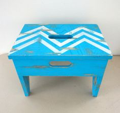 Step Stool Chevron Vintage Upcycled Old Stool Chippy by KimBuilt, $29.75