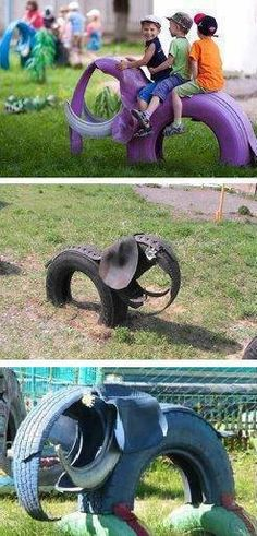 Garden elephant from old tires