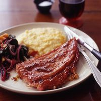 Red-Eye Ham Steaks with Cheese Grits and Seared Chard  | rachaelraymag.com