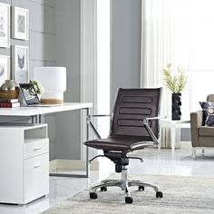 Modway Ascend Mid-back Rolling Office Chair (Brown) Wooden Dining Room Chairs, Shabby Chic Table And Chairs, Living Room Chairs, Lounge Chairs, Rolling Office Chair, Mesh Office Chair, Standing Desk Chair, Leather Bean Bag Chair, Office Chairs For Sale