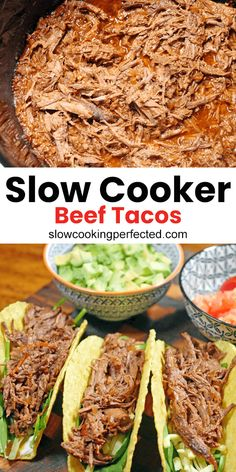 This slow cooker beef tacos recipe will produce some of the tastiest shredded beef ever. It's the perfect beef mixture for your next taco. Shredded Beef Tacos Crockpot, Slow Cooker Beef Tacos, Crock Pot Tacos, Slow Cooked Beef, Meat Recipes, Slow Cooker Recipes, Mexican Food Recipes, Crockpot Meals, Pork Nachos
