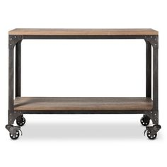 A coordinating floating table for additional space.    Franklin Console Table - The Industrial Shop™