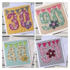 NEW Machine Embroidered Age Cards - Special personalised cards for a special birthday.