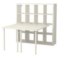 Ikea Kallax Desk, Kallax Shelving Unit, Hack Ikea, Ikea Linnmon, Corner Workstation, Ikea Regal, Kallax Regal, Foldable Table, Ikea Family