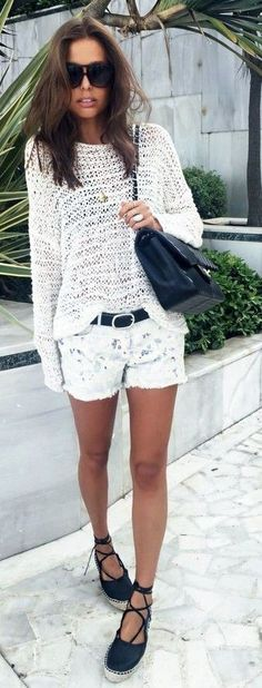 White Crochet Top + White Print Denim Shorts                                                                             Source
