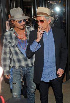 Keith Richards Photos - Johnny Depp and Keith Richards Leave Locanda Locatelli - Zimbio