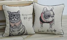 Set of 2 Nordic Dog And Cat Pillow Covers Home Decor Throw Pillows Scandinavian Cushion Cover Animal Lover Pillows     $54.00