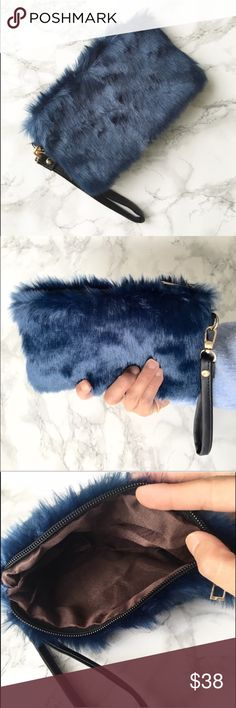 "Furry wrislet KC High style furry wrislet. Faux fur in dark regal blue. 8""X 5"" lined interior Kurates.co Bags Clutches & Wristlets"