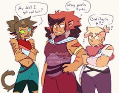 this is so self serving but i wanted to draw them all together... (my She-Ra fankids - Cora (catradora), Nikala (glitra), and Serenity (glimadora)