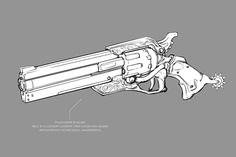 View an image titled 'McCree's Gun Art' in our Overwatch art gallery featuring official character designs, concept art, and promo pictures. Anime Weapons, Sci Fi Weapons, Weapon Concept Art, Weapons Guns, Fantasy Weapons, Guns And Ammo, Drawing Reference Poses, Drawing Tips, Arsenal