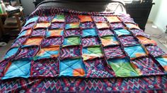 Rag blanket for my oldest son. Picture was taken before I did the cutting - I forgot to take one after the fact. Rag Quilt, Quilts, Blanket, Bed, Fabric, Projects, Home, Tejido, Log Projects