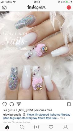 ѵαℓεɾเα Bling Acrylic Nails, Best Acrylic Nails, Rhinestone Nails, Gel Nail Art, Bling Nails, 3d Nails, Gorgeous Nails, Pretty Nails, Perfect Nails