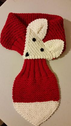 KIDS réglable Fox écharpe tricotés à la main foulard / cache cou warmer(RED)