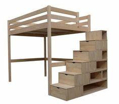 ABC MEUBLES - Cama alta-ABC MEUBLES-Lit Mezzanine Sylvia 140x200 + escalier cube