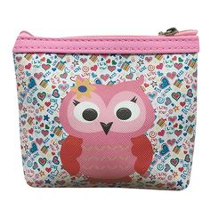 Quistal Lovely Style Owl Small Wallet Card Holder Coin Purse Clutch Bag Handbag Coin Purse for Women Clearance Blue
