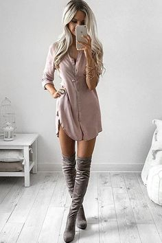 casual shirt dress + over the knee boots