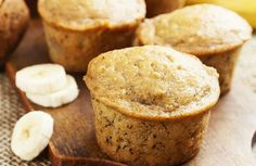 Banana Muffin (with Yogurt) Recipe via @SparkPeople - 82 calories each.  Make with whole wheat flour and Splenda.