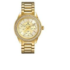 Gifts For Her Womens Bulova Quartz Watch Swavorski Crystals On Bracelet Case  The watch is a beautiful addtion to a jewellery collection. Put it under the Christmas tree today.