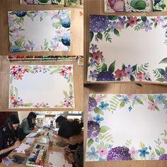 Instagram media by bymamalaterre - Got lot of nice paintings in class today  #bymamalaterre #watercolorpainting #watercolor #paintingclass #floralpainting
