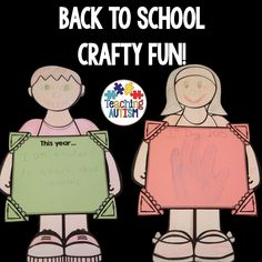 Back to School Craft Activity, Creativity  Who doesn't love making a fun new craft on their First Day back at School?   Comes with templates for students to colour in. Comes with box without text or with text included.   Once coloured in, cut out each of the parts, stick the parts to the text box. Vwa la - done!  This activity comes as a PDF file.