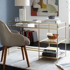 Terrace Desk #westelm - corner -speaker underneath? monitor L record R stereo s1 painting s2?