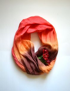 Dip-Dye Red Tones Scarf  Pure Red Orange Brown  Linen by lyralyra