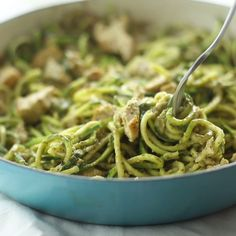 Zucchini-based and low-carb, this is the easier and greener (literally) version of pesto chicken pasta.