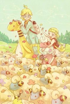 Clemont and Bonnie with Mareep, Flaafy and Ampharos ♡ I give good credit to whoever made this