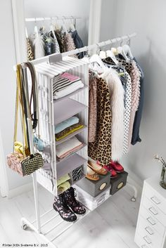 US - Furniture and Home Furnishings Folded shirts and sweaters take up space and can be hard to access in dresser drawers. For extra, easy-access storage for folded clothes, hang storage pockets, like SVIRA, from a clothing rack or closet pole.